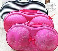 Органайзер - сумочка для бюстгальтеров (с сеточкой), розовый в золотой горошек