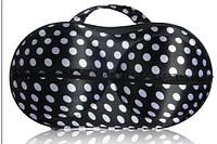 Органайзер - сумочка для бюстгальтеров (с сеточкой), черный в белый горошек
