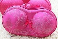 Органайзер - сумочка для бюстгальтеров (с сеточкой), розовый в узорах