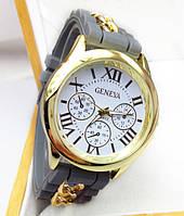 Часы Женева с силиконовым ремешком и цепочкой Серые