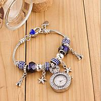 Женские часы в стиле Пандора синие 061-1
