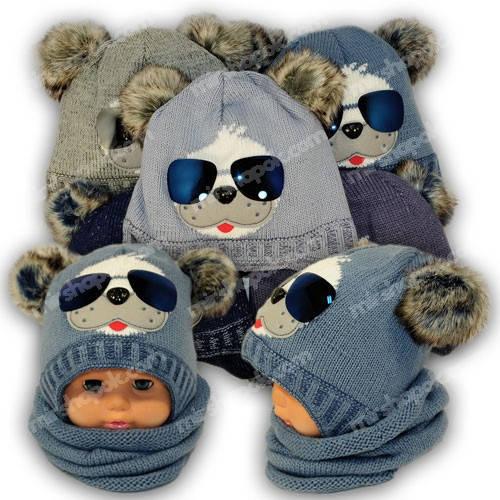 Детский комплект - шапка и шарф (хомут) для мальчика, p. 42-44, Ambra (Польша), утеплитель Iso Soft, R3