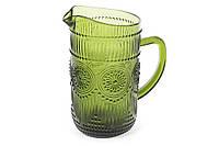 """Стеклянный кувшин для воды.""""Цветное стекло"""", зеленый. 1.5 л"""