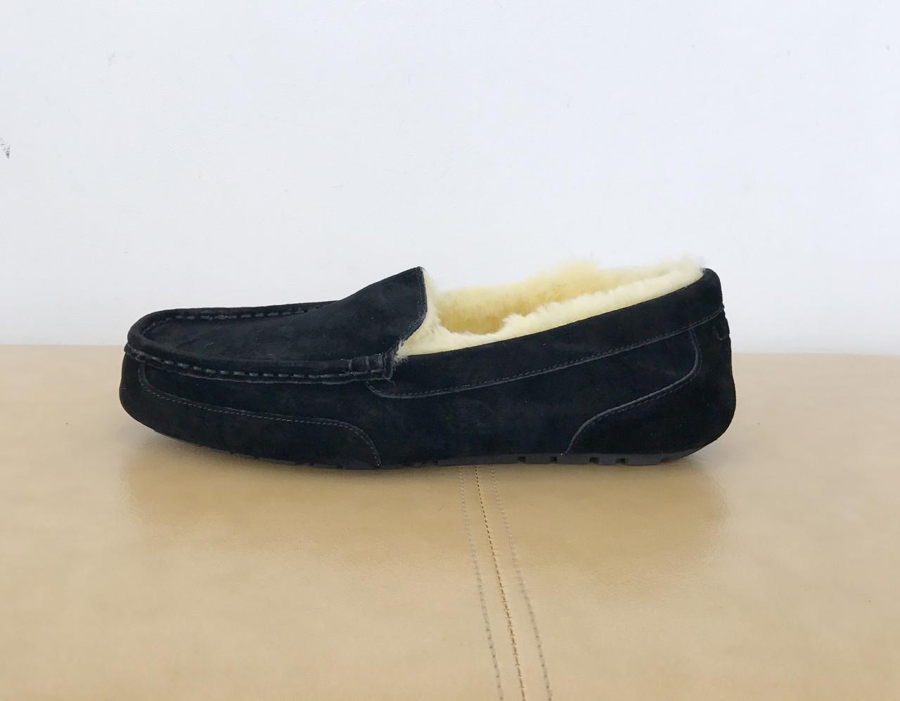 Черные замшевые меховые мокасины UGG Australia Ascot Black