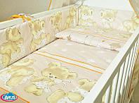 Набор постельного белья в детскую кроватку из 6 предметов Мишка с подушкой бежевый