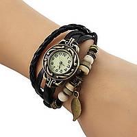 Часы-браслет с подвеской листик Черные