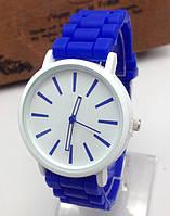 Часы Женева Кварц с силиконовым ремешком Синие