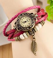 Часы-браслет с подвеской листик темно-розовые