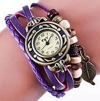 Часы-браслет с подвеской листик сиреневые
