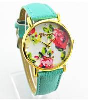 Часы наручные женские Женева Цветы мятный ремешок
