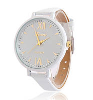 Часы наручные женские Geneva тонкий ремешок белые
