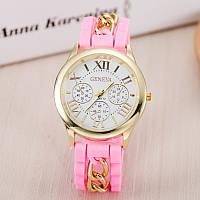 Часы Женева с силиконовым ремешком и цепочкой Розовые
