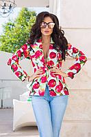 Модный женский жакет на одну пуговицу принт яблоки / Украина / трикотаж