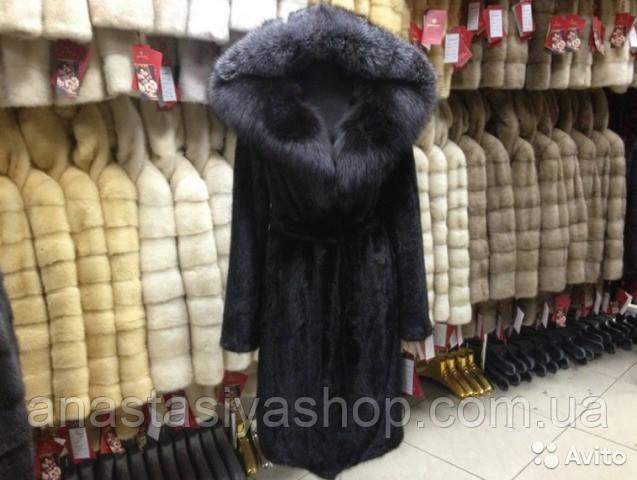 Шуба норковая черного цвета с капюшоном из чернобурки