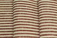 Льняная скатертная ткань в яркую красную полоску