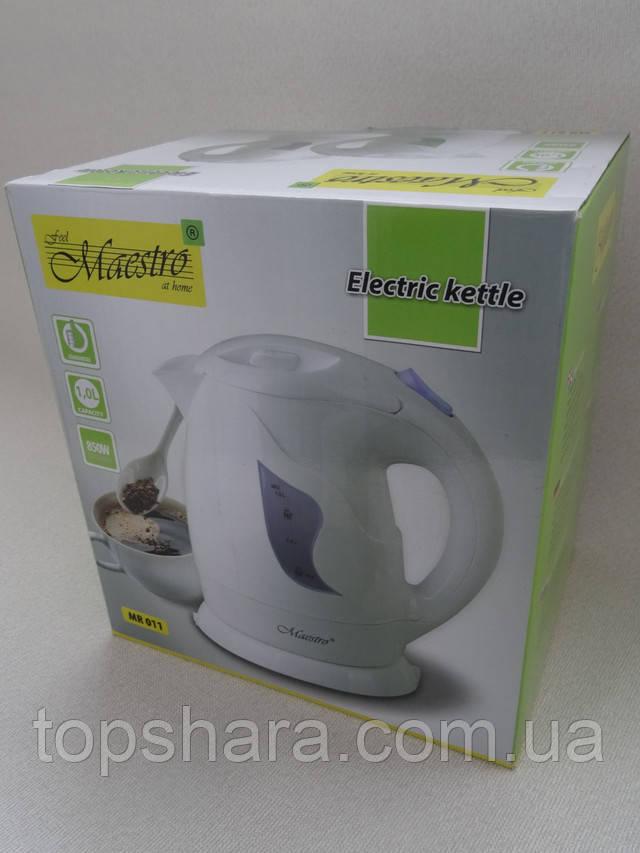 Электрический чайник Maestro MR011 Белый на 1 литр 850 вт.