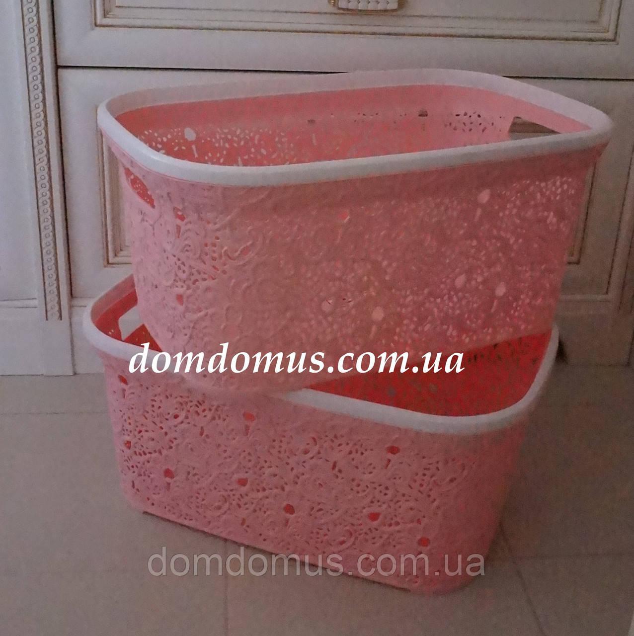 "Корзина для белья ""Ажур"" 47 л Elif Plastik, Турция, розовая"