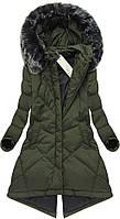 Пальто зимнее асимметричное женское на натуральном пуху