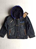 Детская джинсовая куртка для мальчика на флисе (4 - 8 лет) купить оптом со склада