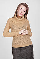 """Классический женский свитер с воротником """"хомут"""", цвета карамели, фото 1"""