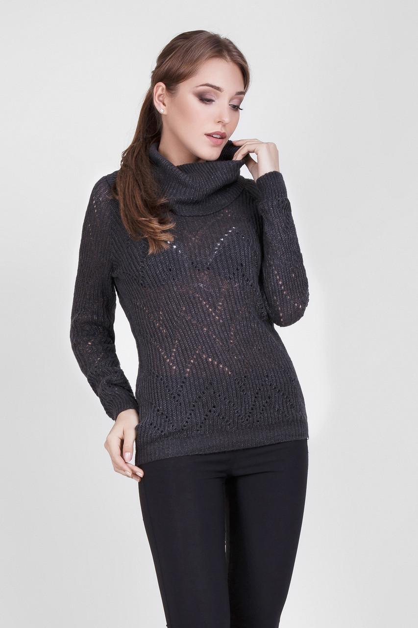 """Классический женский свитер с воротником """"хомут"""", цвета графит"""