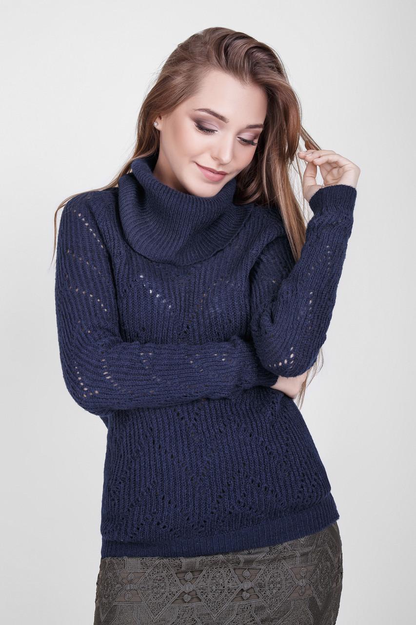 """Классический женский свитер с воротником """"хомут"""", синего цвета"""
