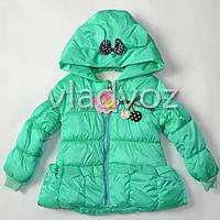 Детская демисезонная куртка ветровка для девочки мята 3-4 года