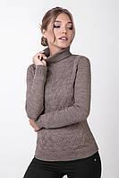 Вязаный женский свитер с оригинальным плетеным рисунком цвета капучино, фото 1