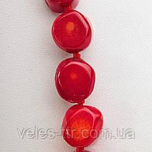 Бусины Коралл красный таблетка галтовка 15мм 1 шт