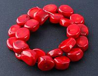 Бусы на леске Коралл красный таблетка галтовка 15мм нить 40 см