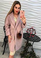 Элегантное женское пальто бекле пудра тренд 2017