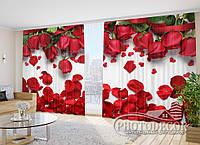 """3D Фото Шторы в зал """"Красные розы"""" 2,7м*2,9м (2 полотна по 1,45м), тесьма"""