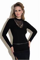 Блузка, кофточка женская черная с длинным рукавом Eldar Lisa офисная деловая одежда