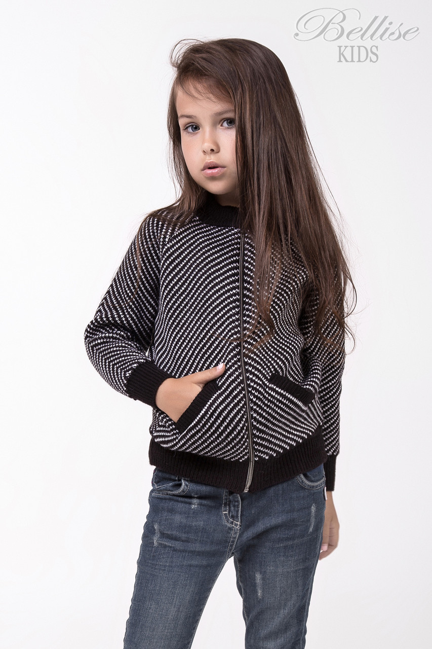 Стильная кофта для девочки на замке черно-белого цвета, фото 1