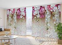 """3D Фото Шторы в зал """"Ламбрекены из белых орхидей"""" 2,7м*2,9м (2 полотна по 1,45м), тесьма"""
