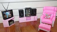 Набор мебели Gloriaнабор гостиная с телевизором и магнитофоном, мебель для куклы, кукольная мебель