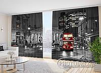 """Фото шторы в зал """"Автобус в Лондоне"""" 2,7м*2,9м (2 полотна по 1,45м), тесьма"""