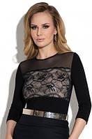 Блузка, кофточка женская черная с длинным рукавом Eldar Patrycja офисная деловая одежда