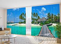 """ФотоШторы в зал """"Мальдивы"""" 2,7м*2,9м (2 половинки по 1,45м), тесьма"""