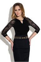 Блузка, кофточка женская черная с длинным рукавом Eldar Rosaria офисная деловая одежда