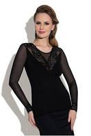 Блузка, кофточка женская черная с длинным рукавом Eldar Rozita офисная деловая одежда