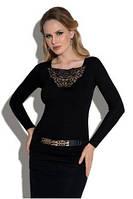 Блузка, кофточка женская черная с длинным рукавом Eldar Tess офисная деловая одежда