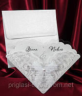 Свадебная пригласительная с бантом белого цвета