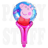 Фольгированный шар с ручкой Пеппа, 50 см
