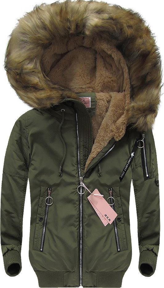 af46aef27d6 Женская зимняя куртка бомбер с капюшоном -