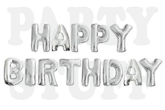 фольгированные буквы серебряные happy birthday