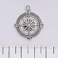 Фурнитура подвеска Роза ветров, цвет серебро