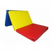 Мат гимнастический складной 200-100-10 см с 3-х частей.