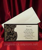 Пригласительные на свадьбу из дизайнерского картона с велюровым напылением заказать