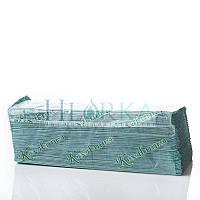 Бумажные полотенца листовые однослойные, V-укладка, зеленые, Макулатура, 170 шт О-708